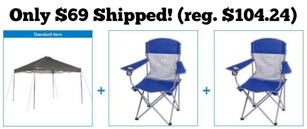 Ozark Trail 10x10 Canopy with 2 Basic Mesh Chairs Value Bundle Only $69 Shipped!