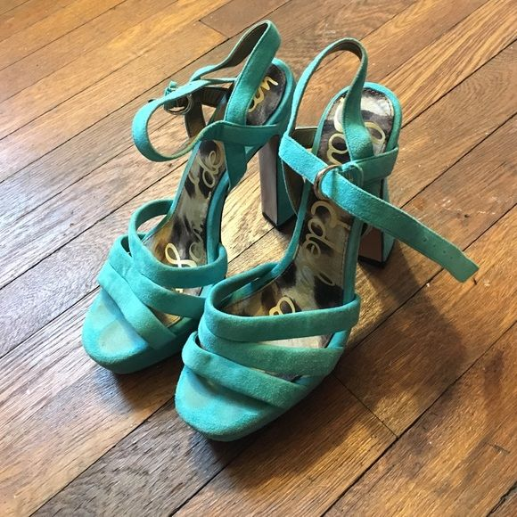 Sam Edelman turquoise heel Nice platform. Bought for one occasion. Haven't worn them since Sam Edelman Shoes Heels