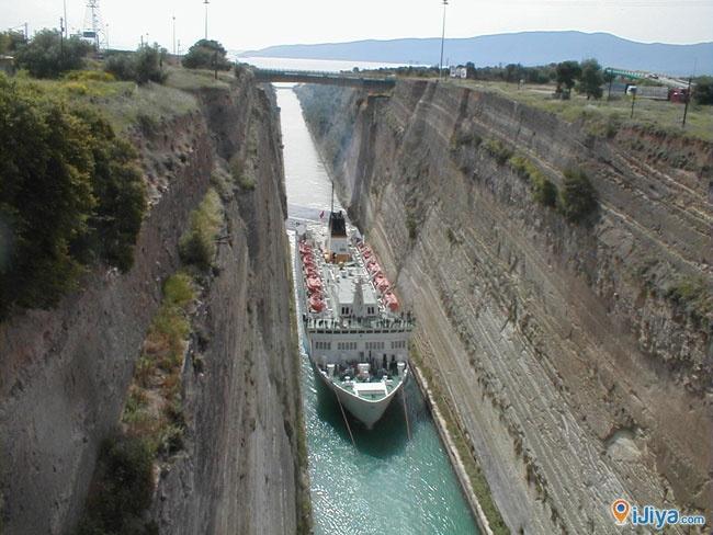 Corinth Canal, Greece  * 6.4 km long, 70 ft wide,  @ http://ijiya.com/8237164