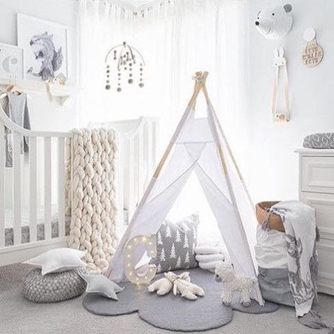 An old pic of Chet's nursery by @oh.eight.oh.nine how cool is that teepee! I have these Fine Little Day cushions back in stock now @immyandindi Liapela.com