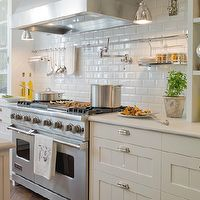Kitchens   Charcoal Gray Walls Ivory Kitchen Cabinets Light Gray Honed  Quartz Countertops Subway Tiles Backsplash Open Shelves Spice Canisters  Home  ...