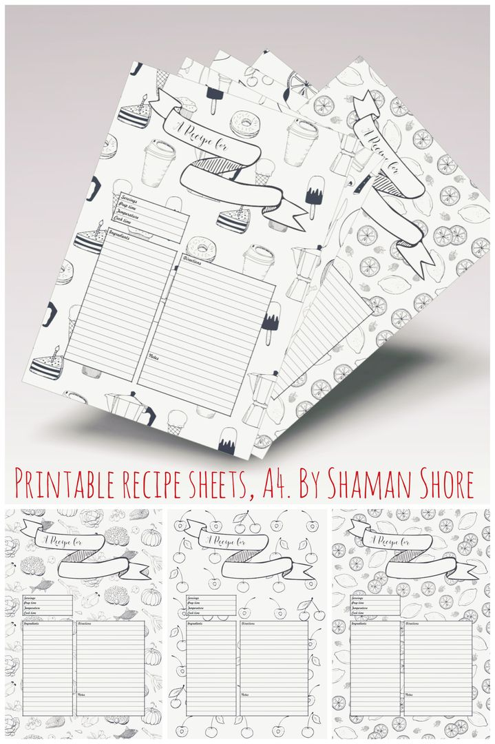 recipe template printable  10 recipe pages  blank recipe