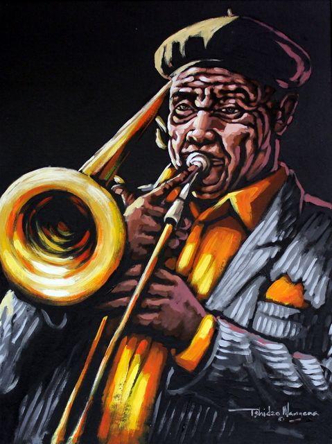 The Trombone Player by Tshidzo Mangena. Acrylic on canvas. https://www.facebook.com/akwaabaafricanart