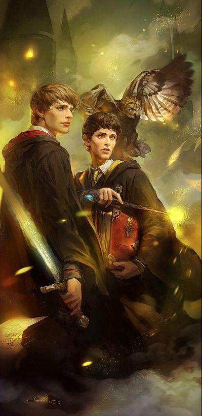 Merlin & Hogwarts: Gryffindor Arthur Hufflepuff Merlin