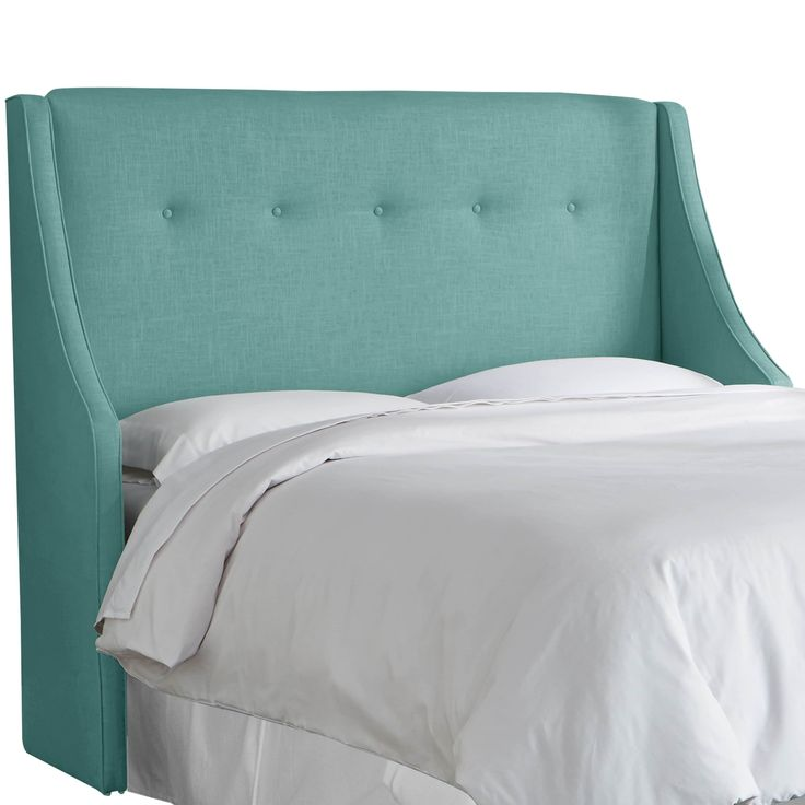 ANGELOHOME angelo:Home Laguna Linen/Polyester Button-tufted Wingback Headboard (California King, Laguna), Blue