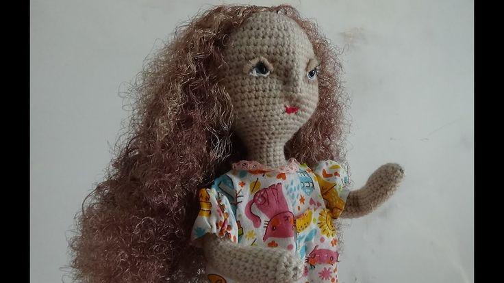 Волнистые волосы для куклы из атласных лент. (Wavy hair for dolls of sat...