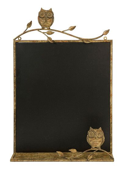 In a warm honey toned metal frame, the Adeline owl chalkboard adds a bit of whimsy to kitchen areas and children's play areas.