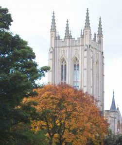 Bury St Edmunds in autumn - Cathedral from the Abbey Gardens