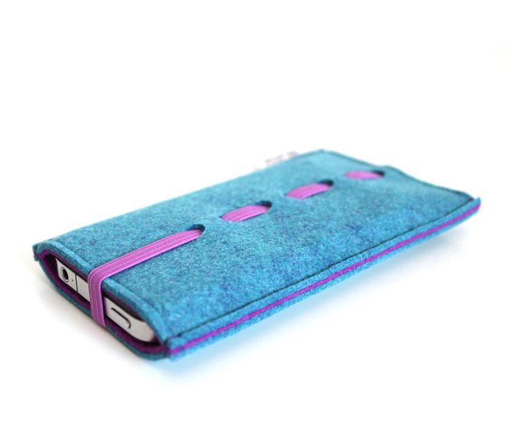 Θήκη από υψηλής ποιότητας felt, γιαiphone 5/5s/5c, σε χρώμα μπλε - μωβ.