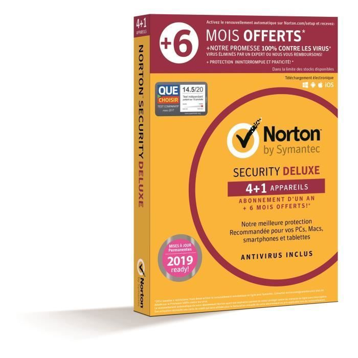 Norton Security Deluxe 2019 | 5 Apps | 12+6 mois | PC/Mac/iOS/Android