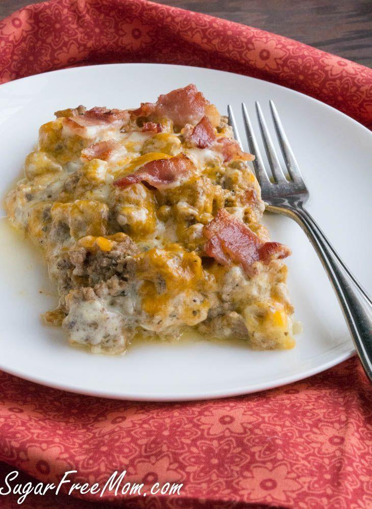bacon cheeseburger cauliflower casserole-gluten free, low carb, keto, atkins, thm