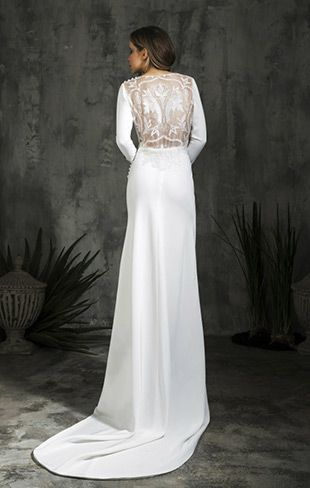 Dress 10 from Alicia Rueda wedding dresses 2016 - Simple sheath full legth gown with a slight kick out on the train. An open back with a lace embroidered insert. Full length sleeves -  see the rest of the collection on www.onefabday.com