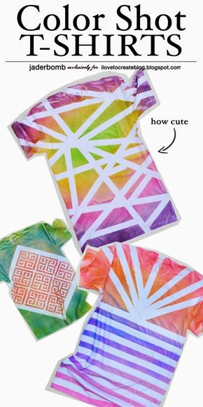 iLoveToCreate Blog: Color Shot T-Shirts - cute crafts tutorial, diy t-shirts made with fabric spray paint