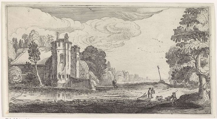 Jan van de Velde (II) | Landschap met figuren bij een versterkt huis met twee torens, Jan van de Velde (II), 1639 - 1641 | Landschap met figuren bij een versterkt huis met twee torens. 23ste prent van een serie met 36 prenten van landschappen, verdeeld over zes delen.