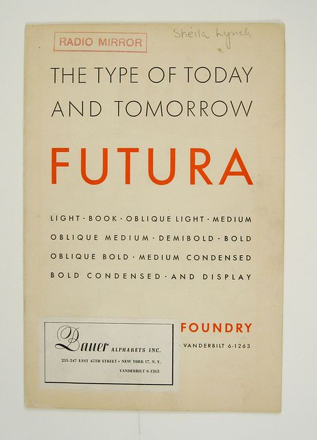 1930s Futura specimen booklet by the Herb Lubalin Study Center