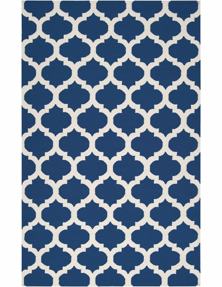 gorgeous navy rug with trellis pattern