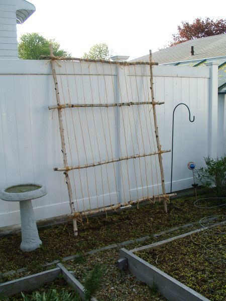 """CUCUMBER OR GREEN BEAN TRELLIS: Gather 6 sticks slightly taller than you, space them out evenly on the ground as shown in tutorial, and wrap overlapping sticks with twine to secure. Then run string horizontally from one side to the other. This trellis can be leaned up against a wall or fence, or 2 can be tied together at the top in an """"A"""" shape to make a freestanding support. Sturdy and rustic looking!"""