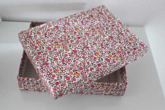 boite en carton recouverte de tissu DIY 2