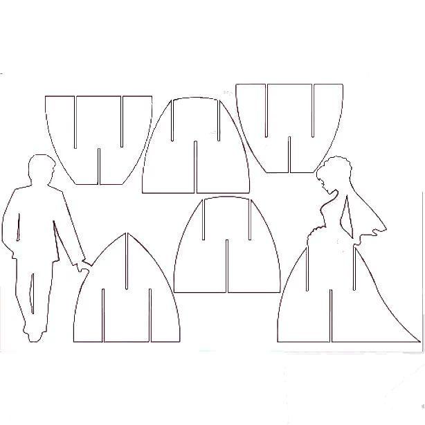 выкройка объемной открытки на свадьбу