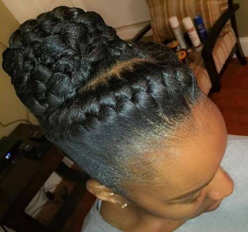 braided bun updo for black women