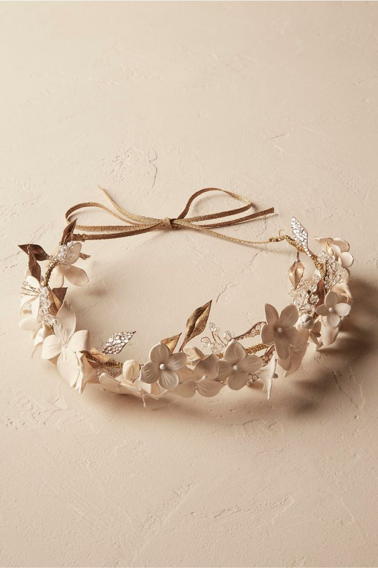 hand-molded petals and gilt-crystal leaves | Spring Dreams Halo from BHLDN