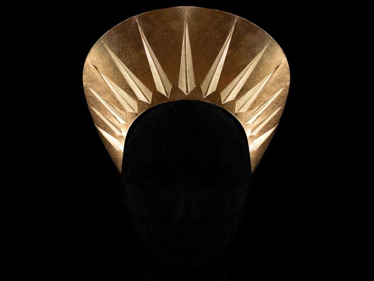 IMAGE © Alexia Sinclair HALO HEADPIECE - GOLD FOILED KANGAROO LEATHER & HAND PAINTED GOLD FEATHER INLAY