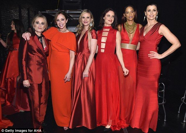 Red hot! The girls exuded glamour as they posed backstage -Maureen McCormick, Lauren Holly, Bonnie Somerville, Juliette Lewis, Veronica Webb, and Bridget Moynahan (L-R)