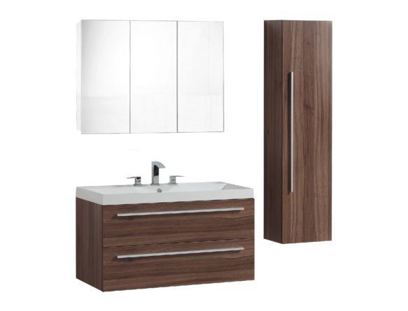Lingerie suspendue contemporaine une porte fini noyer lingeries mobiliers de salle de bain - Lingerie salle de bain ...