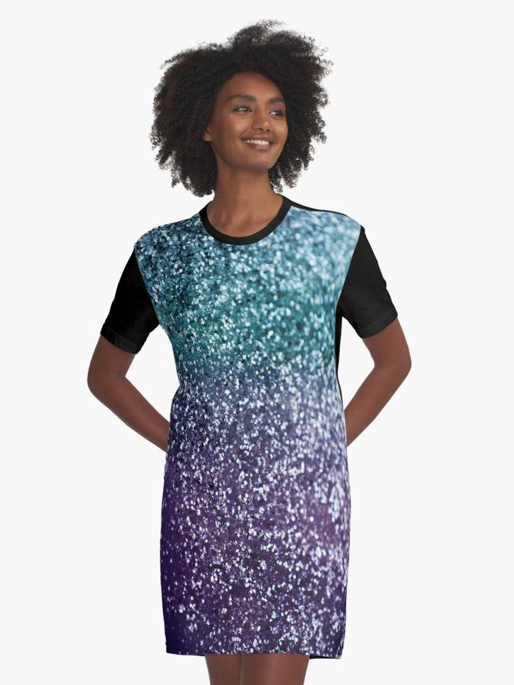 aqua purple ombre glitter 1 decor art graphic t shirt dress by