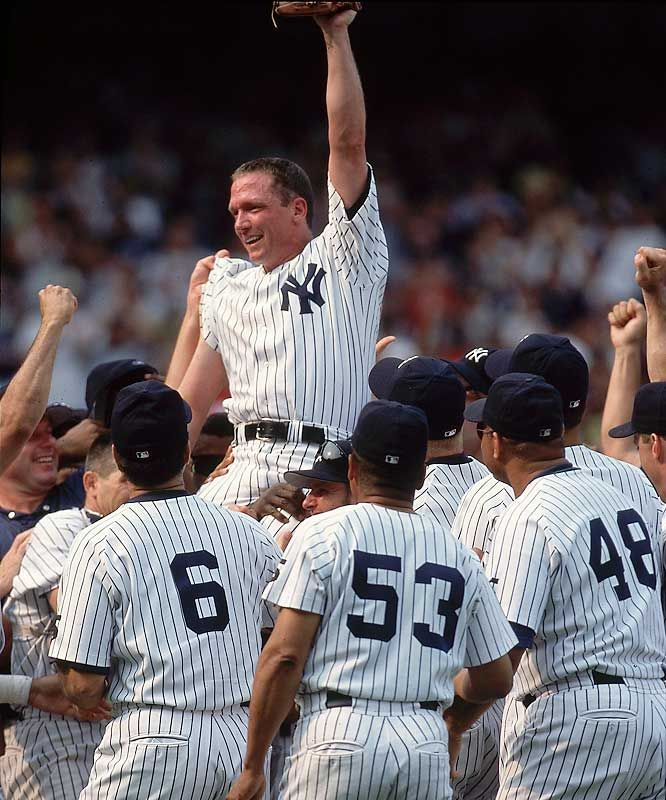 July 18, 1999, #36 David Cone pitches a perfect game in New York against the Montreal Expos. It is the last no-hitter to date by a Yankee and the only regular season interleague perfect game.