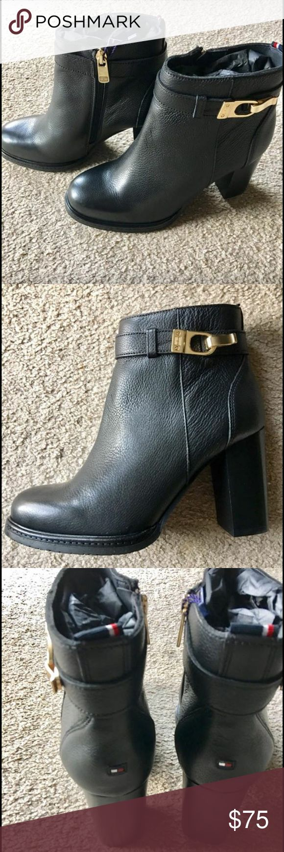 Women's boots Brand new authentic Tommy Hilfiger shoes. These shoes are considered booties. Never worn, size 39, black, zip up, with gold buckle & in original box. Heels on the shoes are about 3 inches, chunky heel, with style & comfort. Bought these from Tommy Hilfiger Store. Retail price is $199, asking for less Tommy Hilfiger Shoes Ankle Boots & Booties