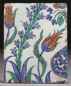 An Iznik pottery tile, Ottoman Turkey, circa 1580