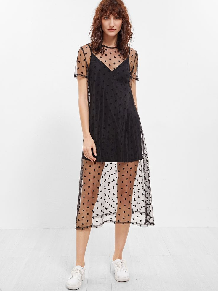 Shop Black Sheer Polka Dot Mesh Short Sleeve Dress With Cami Top online. SheIn offers Black Sheer Polka Dot Mesh Short Sleeve Dress With Cami Top & more to fit your fashionable needs.
