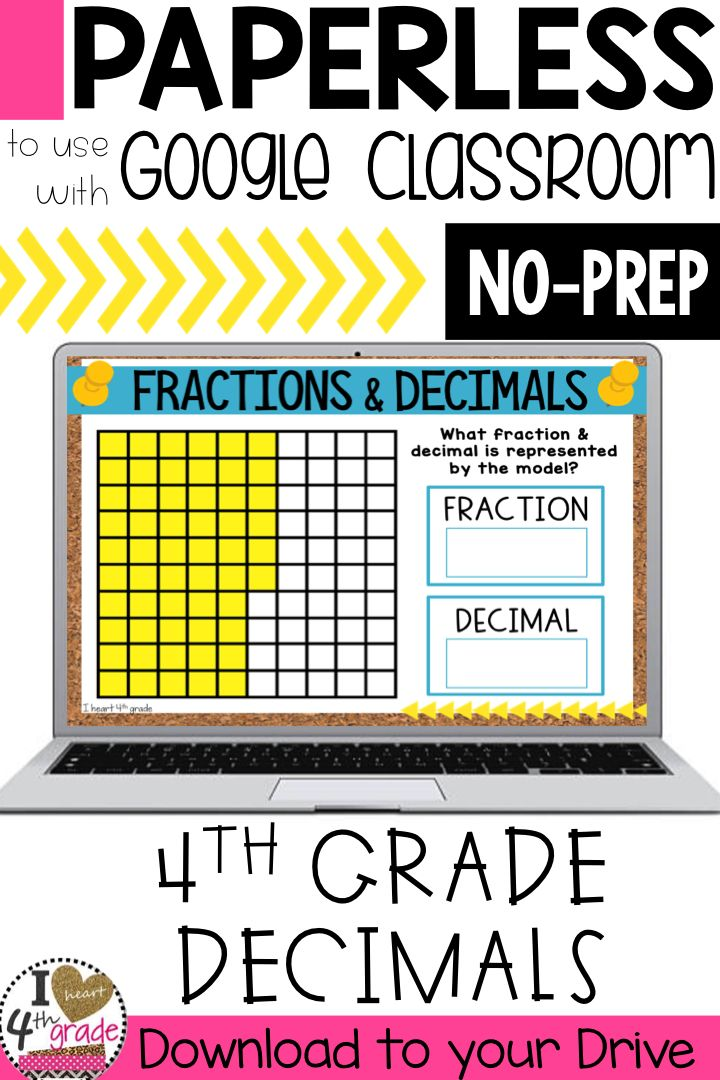 Fractions and Decimals | 4th grade fractions | 4th grade decimals | fraction math centers | decimal math centers | Google Classroom 4th grade math | Practice writing fractions and decimals using models.  Paperless practice to share with students on Google Classroom. ($)