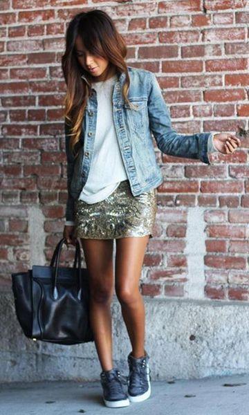 Street Style Look: Jaqueta Jeans + Saia de Paetê