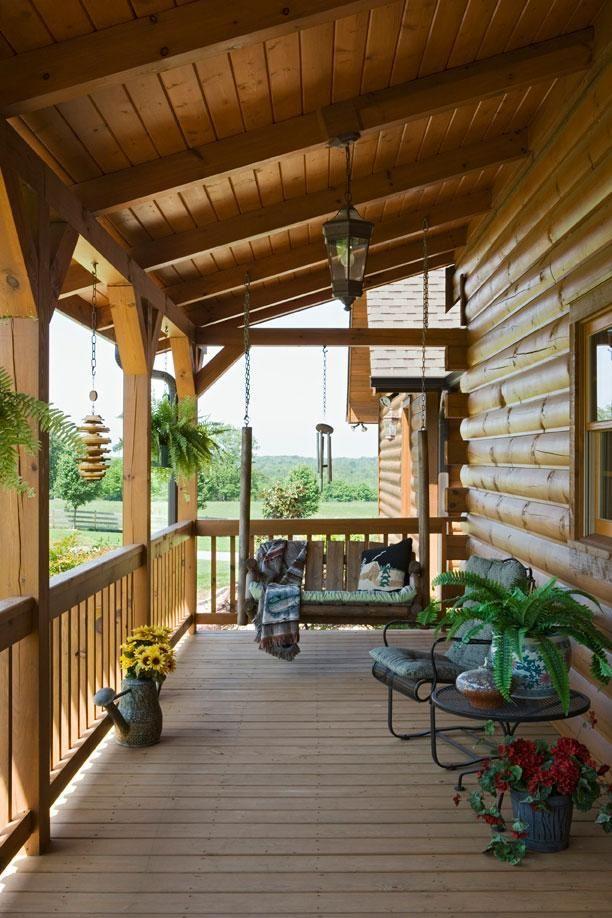 ueberdachte veranda holz schaukel bauen vordachbau ideen
