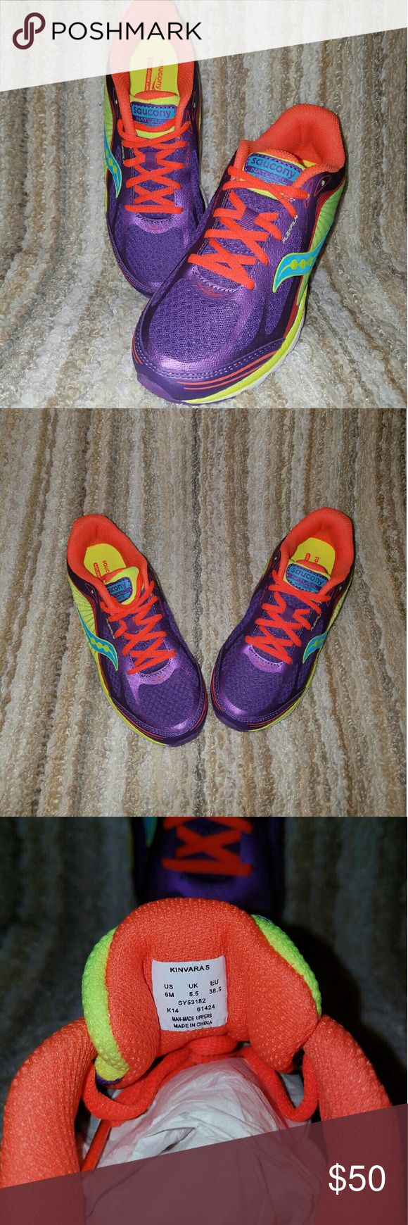 Women's Athletic Shoes Kinvara S Athletic shoes. Excellent condition. Never worn. Purple, orange and yellow in color. Saucony Shoes Athletic Shoes
