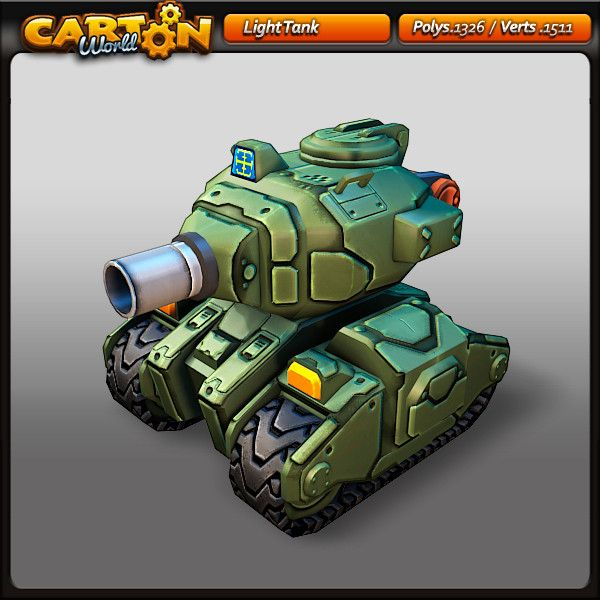 3d cartoon light tank model