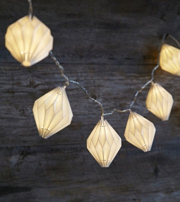 Origami Paper Lantern Light Garland LED - electric / plug in | Rastall and Daughters