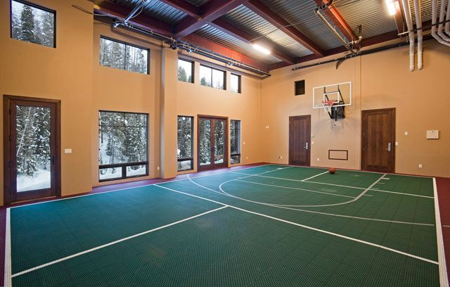 Colorado ski home with indoor basketball court march for Basketball court inside house
