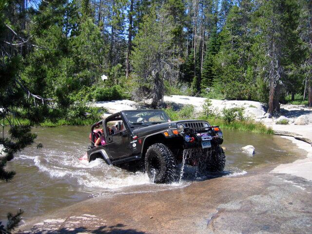 Water crossing Rubicon trail jeep pic