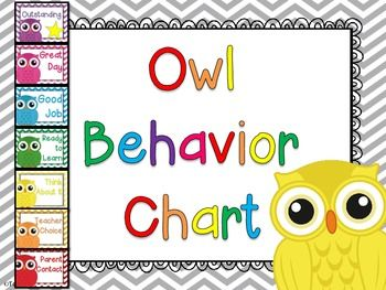 7 levels of behavior tracking for a owl and chevron classroom-Outstanding-Great Day-Good Job-Ready to Learn-Think About It-Teacher Choice-Parent ContactConnect these levels together vertically, use clothespins for behavior levels. **Please note that this behavior chart is also INCLUDED in the chevron and owl classroom decor pack that is sold in my store.**Included: owls to hot-glue onto the ends of ClothespinsParent Letter includedBehavior Recording Sheet included