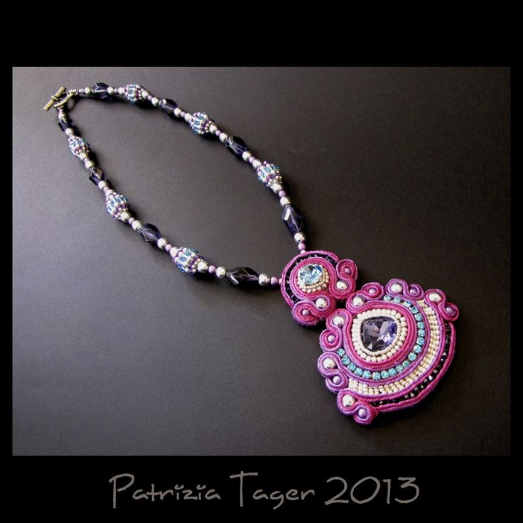 Fuchsia Dance  Soutache Embroidered Necklace in Pink by triz, $185.00