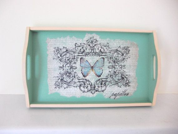 Wooden retro decoupage tray green with butterfly by ArtandWoodShop