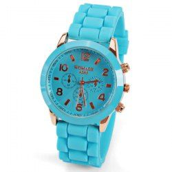 $3.80 No.595 Quartz Watch 8 Arabic Number and Strips Indicate Rubber Watch Band for Women - Blue