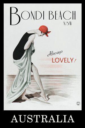 Bondi Beach Australia Vintage Travel Poster Print