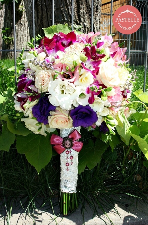 elegant wedding bouquet - roses, orchids. white and purple lisianthus, minirosa, freesia