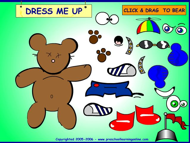 FREE Dress up game for preschool kids. Free game to play online with your preschoolers. #dressupgame #kidsgame #freeforkids  http://www.preschoollearningonline.com/preschool-games/bear-dress-up-game-for-kids.html