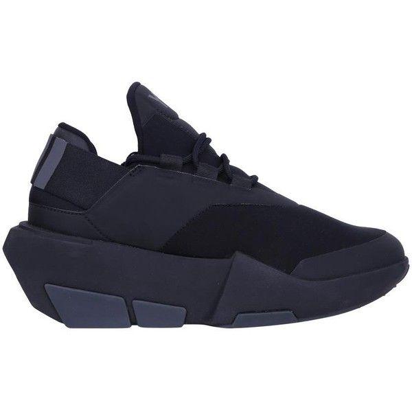 Y 3 Mira black neoprene sneakers ($481) ❤ liked on Polyvore featuring shoes, sneakers, black, wedge heel shoes, wedge trainers, y3 sneakers, black wedge shoes and neoprene shoes