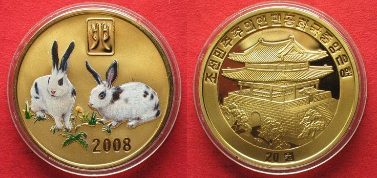 2008 Nordkorea NORTH KOREA 20 Won 2008 Lunar YEAR OF THE RABBIT brass COLORED Proof # 94940 Proof